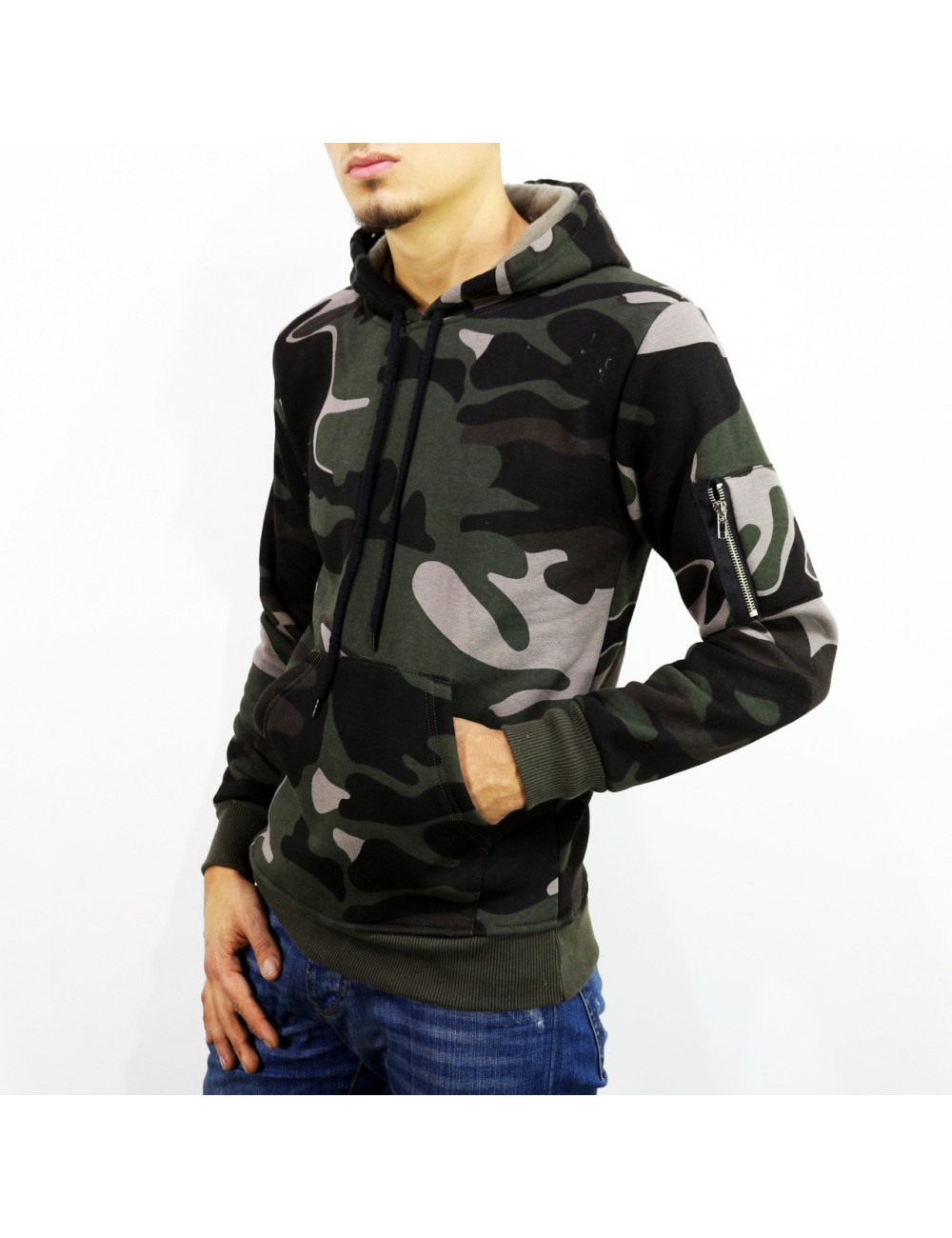 Jersey con capucha Hip-hop Camouflage